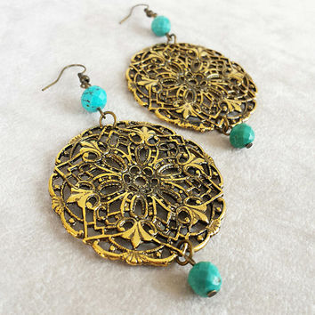 Large Bohemian Earrings, Turquoise and Antiqued brass filigree, Bohemian Jewelry, Boho Earrings, Gypsy Jewelry, Festival Jewelry