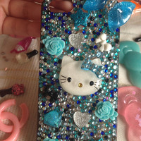 Blue hello kitty inspired iphone 5 case by CustomTreasure on Etsy