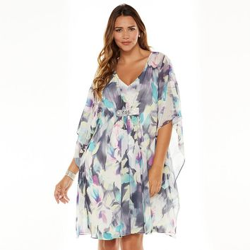 Jennifer Lopez Floral Embellished Caftan Dress - Women's Plus