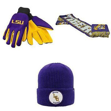Licensed NCAA LSU Tigers Spirit Scarf Wharf Beanie Hat And Grip Work Glove 3 Pack 34332 KO_19_1