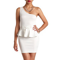 BOW-BELT ONE SHOULDER PEPLUM DRESS