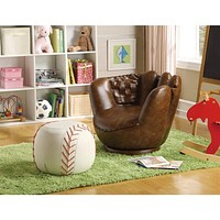 Baseball Glove Chair & Ottoman, Brown/White By Crown Mark