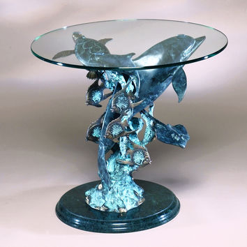 Dolphin Seaworld Glass and Brass End Table