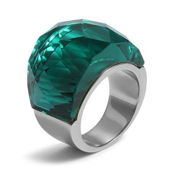 Multi Color Big crystal Stainless Steel Ring