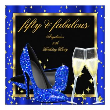 Fabulous 50 Royal Blue Champagne Heels Birthday 5.25x5.25 Square Paper Invitation Card
