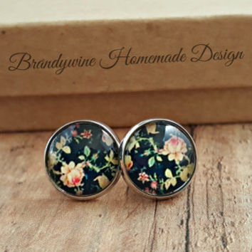 Navy Rose Earrings, 12mm Round Glass Cabochon Earrings, Flower Earrings, Stud Earrings, Preppy Earrings, Vintage Look Earrings