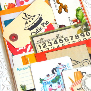 Kitchen Ephemera Pack. Art Journal Kit. Journal Supply. Scrapbooking. Embellishment Kit. Mixed Media. Vintage Recipe Cards. Paper Pack.