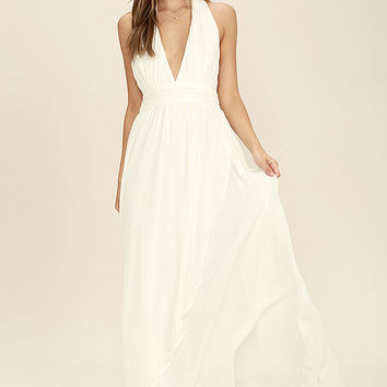 Stop and Stare Ivory Halter Maxi Dress