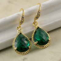 Emerald Green Bridesmaid Gift Earrings, Mother Gift, Gold Vermeil, Glass Earrings, Green Bezel Earrings, Fashion, Crystal, Bridal, Wedding