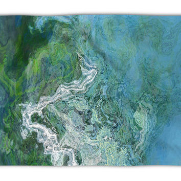 Abstract Art plush fleece throw, 50x60 and 60x80, coral fleece blanket in green and blue, Rising