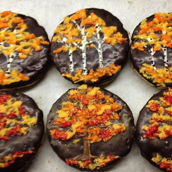 Rustic Fall Tree Shortbread Cookies