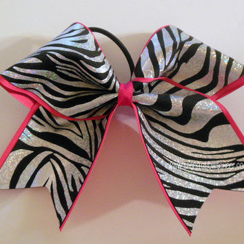 Foil Zebra on Hot Pink Large Cheer Hair Bow Cheerleading