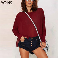 YOINS Woman Fashion Burgundy Bat Sleeve Split Sexy Short Top Ladies Casual Loose Long Sleeve O-neck Blouse Shirt Faminina Blusa