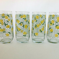 Vintage Yellow Rose Beverage Drinking Glasses by Anchor Hocking, Set of 4