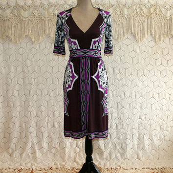 Fitted Knit Dress Purple Bohemian Print Sexy V Neck XS Small Midi Dress Short Sleeve Womens Dresses Op Art Donna Morgan Womens Clothing