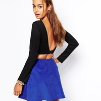 Motel Faria Crop Top with Low Back - Black