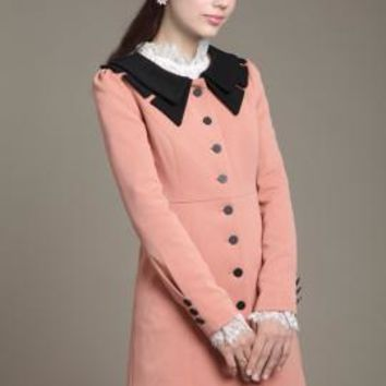 Historical Fiction Vintage Lapel Collar Swing Coat in Pink/Black | Sincerely Sweet Boutique