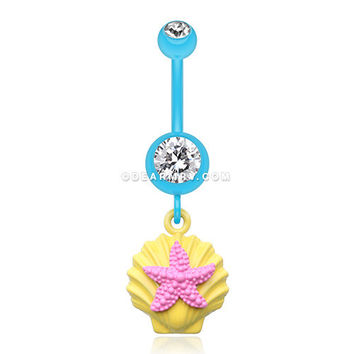 Ariel's Starfish Shell Belly Button Ring (Yellow/Clear/Pink)