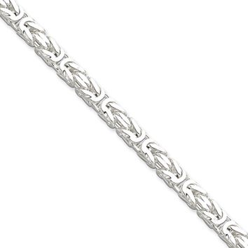 Mens 5mm Sterling Silver Square Solid Byzantine Chain Necklace, 22in