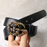 GUCCI Trend Retro Exquisite Double G Buckle Women's Smooth Buckle Belt