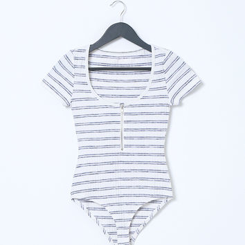 Obsession Stripe Bodysuit - White/Navy