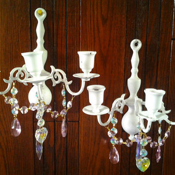 2 Candle Wall Sconces Shabby Cottage Chic Pale Aqua with Light Pink and Iridescent Chandelier Crystals Candle Holder Sconce