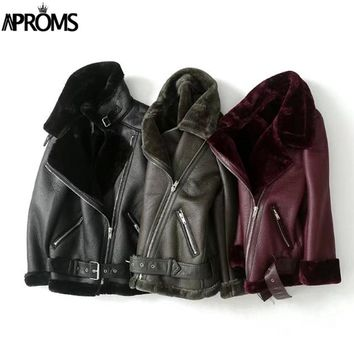 Aproms Ladies Warm Black Green Moto Jacket  Autumn Winter Turn-down Collar PU Leather Coats 2017 Women Thick Plush Outwear Coat