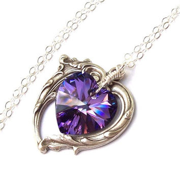 Amethyst Necklace Victorian Heart Necklace by SterlingSimplicity