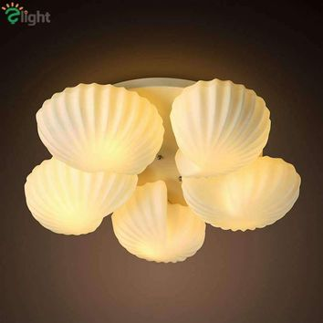Modern Simple Shell Led Ceiling Chandeliers Lustre Glass Metal Dining Room Chandelier Lighting Living Room Led Chandelier Lamp