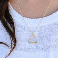 Angel Fire Triangle Stone Simple Necklace