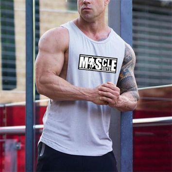 Muscleguys Brand Letters Printed Singlets Shirt Bodybuilding Equipment Fitness Men's Golds Stringer Tank Top Brand Clothes