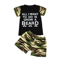 2pcs boys set Toddler Baby Kids Boy T-shirt Top+Camouflage Shorts Outfits Clothing Set drop shipping