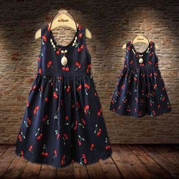 VONEML3 Baby Girls Dresses Summer Matching Mother Daughter Dress Plus Size Lady Cherry Print Cotton toddler Family Clothing Vestidos
