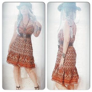 Coachella Indian print hippie sundress, boho hippie chic slip dress, True Rebel Clothing