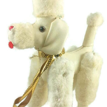 Vintage White Toy Poodle, 1966, Jointed Legs, Made in Japan, Straw Sawdust Stuffed , MCM Kitsch, White Faux Fur Leather, Gold Collar Leash
