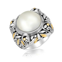 18K Yellow Gold and Sterling Silver Pearl Embellished Leaf Style Ring: Size 6