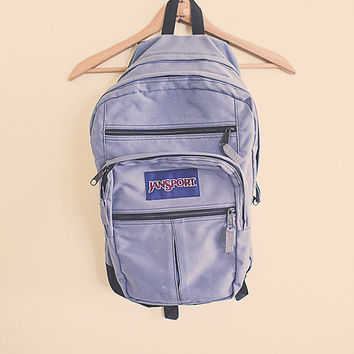 Vintage 90's Backpack Jansport Grey Black Zipper Back Pack with Leather RuckSack Hiking Seattle Style Portland Style