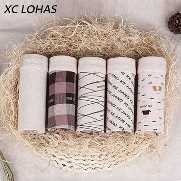 5Pcs/lot Male Underwear Organic Natural Cotton Boxers Men Sexy Print Cuecas Panties Funny Boxer Shorts for Men L XL XXL XXXL