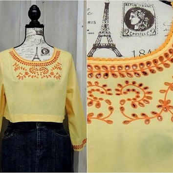 Summer Crop Top / size M / tunic top / Boho / Hippie/ Festival / cotton / embroidered
