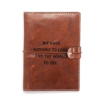 Genuine Leather Passport Case with Embossed Saying in Gift Box