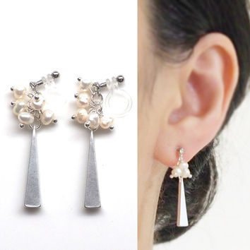 Freshwater Pearl Clip On Earrings Silver Triangle Bar Invisible Clip On Earrings Natural Pearl Beaded Clip Earrings Non Pierced Earrings