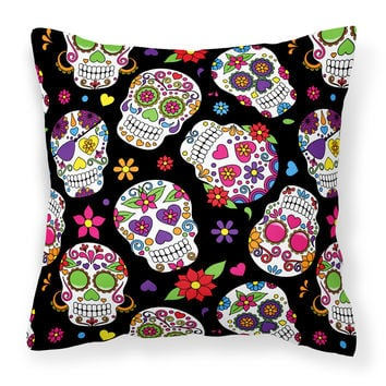 Day of the Dead Black Fabric Decorative Pillow BB5116PW1414