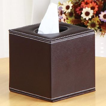 Multifunctional Tissue Box Apricot Black Coffee PU Leather Square Paper Rack Storage Box Home Car Napkins Holder Organizer