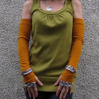 Brown Tribal and Mustard Sweater Knit Long Arm by stitchesbyv