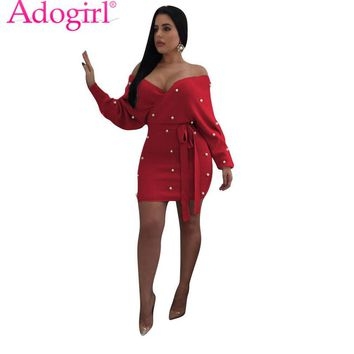 Adogirl Red Pearls Off Shoulder Bodycon Summer Dress Sexy V Neck Backless Long Sleeve Sashes Mini Club Party Dresses Vestidos