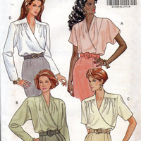 Butterick 5716 Sewing Pattern Deep V Neck Blouse Wrap Front Shirt Shoulder Yoke Uncut FF Size 12 to 16 Bust 34 to 38