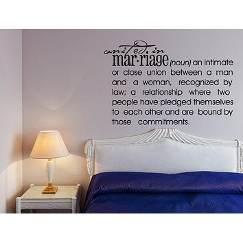 Marriage Definition Decal Wall Decal Custom Wall Custom Quote Marriage Sign