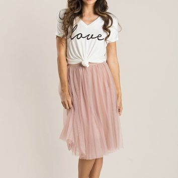 Esme White Love Knotted V-Neck