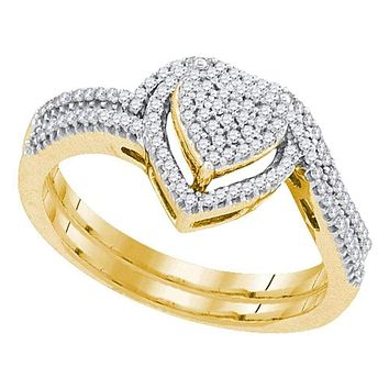 10kt Yellow Gold Women's Round Diamond Heart Cluster Bridal Wedding Engagement Ring Band Set 1/3 Cttw - FREE Shipping (US/CAN)