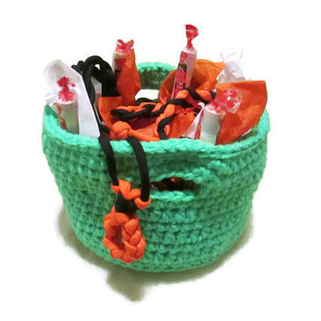 Birthday Gift Basket Crocheted Neon Green Basket Boy or Girl Black Orange Green 1 Paracord Bracelet 2 Paracord Necklaces Candy Smarties